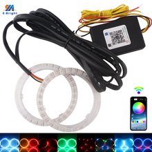 2PCS Mul ti Color Streamer RGB Bluetooth Angel Eyes 3535 80mm 95mm APP Halo Rings Turn Signal Flowing 210 Modes For Cars Scooter