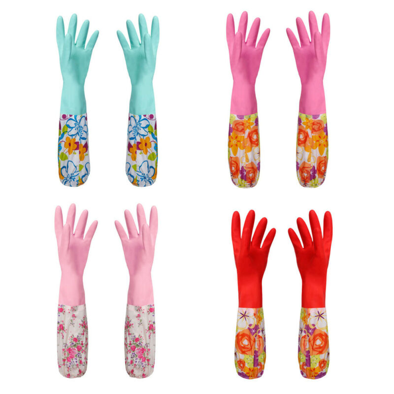 Kitchen <font><b>Wash</b></font> <font><b>Dishes</b></font> Long Sleeve Rubber Velvet Lining Waterproof Household <font><b>Glove</b></font> Velvet Latex <font><b>Gloves</b></font> image