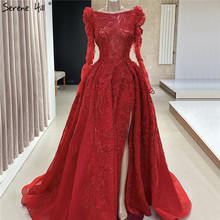 Red Luxury Long Sleeves   Beading Sexy Evening Dresses 2020 Dubai  Split Boat Neck  A Line Formal Dress Serene Hill LA70445