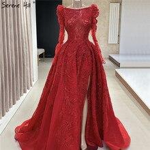Rot Luxus Lange Ärmel Perlen Sexy Abendkleider 2020 Dubai Split Boot ausschnitt A linie Formale Kleid Ruhigen Hill LA70445