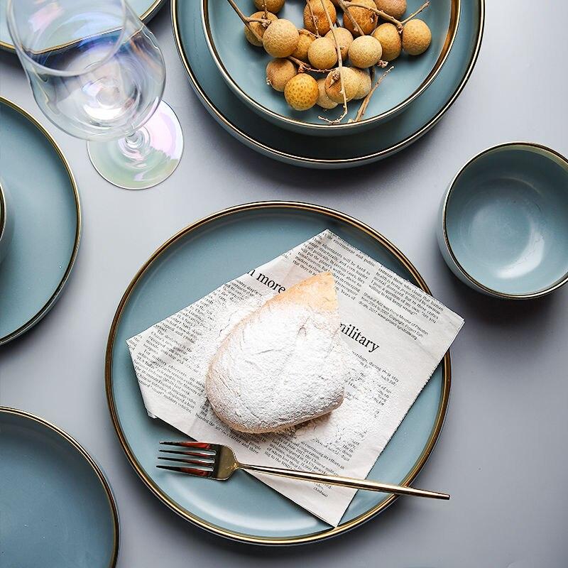Высокая Класс матовый синий из чистого золота краями Керамика посуда рисовая миска соус Суповая тарелка Лапша обеденная ложка Западный тарелка для стейка набор|Блюдца и тарелки| | АлиЭкспресс
