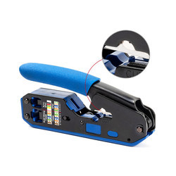 Crimp Tool Pass Through Cutter for Rj45 Cat6 Cat5E Cat5 Rj11 Rj12 Modular Connectors All-in-one Wire Tool