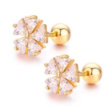 Милый цветочный набор треугольник CZ камни закручивающаяся задняя часть серьги гвоздики для женщин для маленьких девочек розовый Золотой пирсинг ювелирные изделия Oorbellen