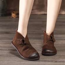 Artdiya Original Autumn and Winter Genuine Leather Flat Bottom Short Boots Cowhide Women Soft Sole Comfortable Ankle