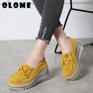 Image 2 - 2020 bahar kadın Flats ayakkabı platformu Sneakers daireler üzerinde kayma deri süet bayanlar loaferlar rahat ayakkabılar kadınlar loafer ayakkabılar