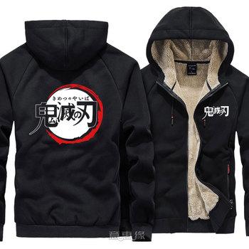 New Demon Slayer: Kimetsu no Yaiba Hoodie Kamado Tanjirou Nezuko Coat Jacket Winter Men Tomioka Giyuu  Thick Zipper Sweatshirt