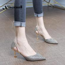 Bling Womens Shoes Heels Pointed Toe 6CM HIgh Thin Heels Pumps Fashion Women Shoes 2020 Summer Ladies Sexy Party Shoes Sandals women s shoes fashion women pumps sexy leopard grain high heels shoes 2017 womens horsehair thick heels pointed toe rivets shoes