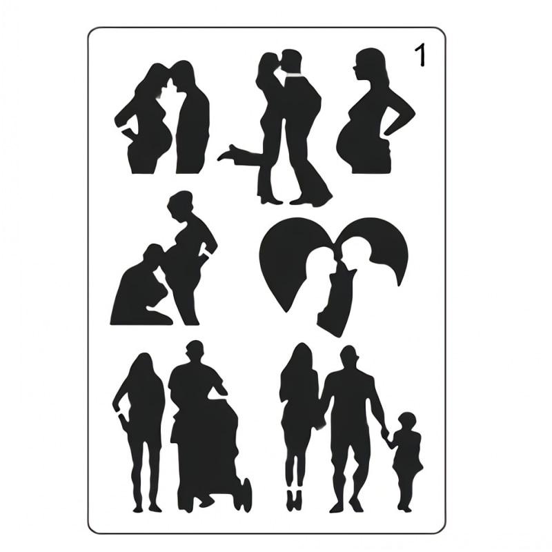 A4 29cm Lover Couple Family Parent DIY Layering Stencils Painting Scrapbook Coloring Embossing Album Decorative Paper Template