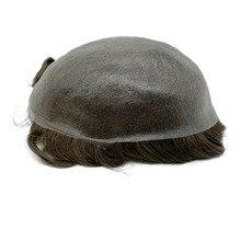 Супер тонкая кожа мужской парик Сильный узел волосы заменить мужчин t не Обнаруживаемая Передняя линия волос быстрая