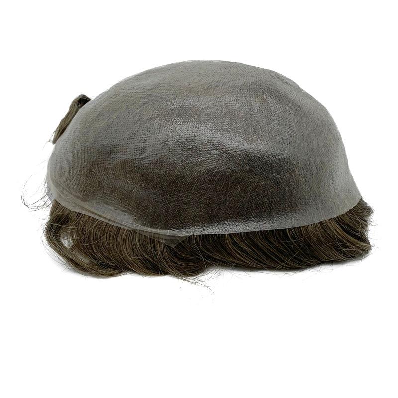 Супер тонкая кожа мужской парик Сильный узел волосы заменить мужчин t не Обнаруживаемая Передняя линия волос быстрая доставка