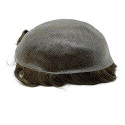 Super Dünne Haut Männer Toupet starke Knoten Haar Ersatz Nicht Nachweisbar Vorne Haar Linie Schnelle Versand