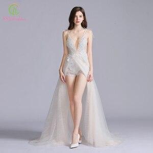 Image 3 - SSYFashion New Sexy Long Evening Dress Deep V neck Sleeveless Backless Lace Flower Beach Prom Formal Gown Vestido De Fiesta