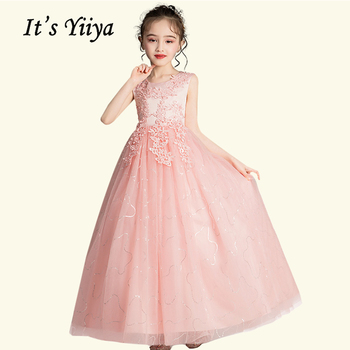 Pink Flower Girl Dresses for Weddings BT013 Elegant Long First Communion Party Decorations Tulle Dress Kid Ball Gown