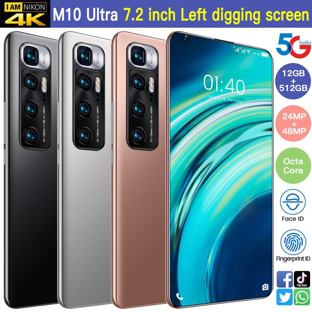 Смартфон глобальная версия 7,2 дюйма M10 Ultra Snapdragon 865, задняя камера 48 МП, Селфи, 12 Гб + 512 ГБ, Android 10,0