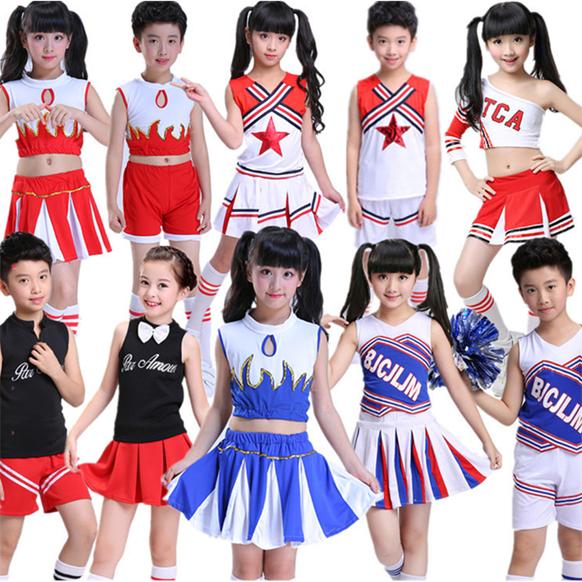 10Style Student Cheerleader Uniform School Girl Dance Costumes Sports Competition Kids Stage Performance Clothing 110-160CM