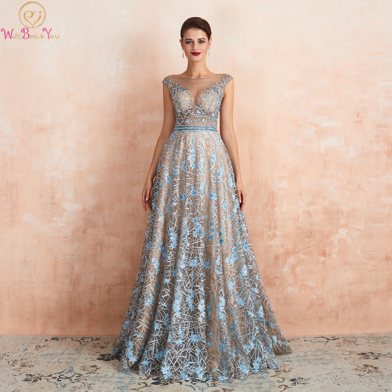 2019 New O-Neck A-line Lace Evening Dresses Illusion Blue Champagne Sleeveless Long Luxurious Beading Crystal Formal Party Gowns