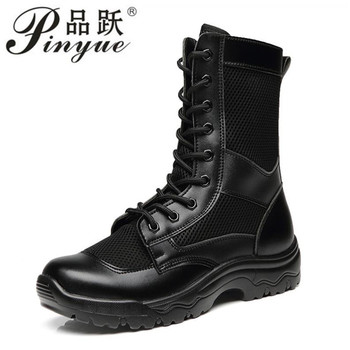 Summer super light breathable military boots men combat boots high side security check outdoor mesh tactical desert boots
