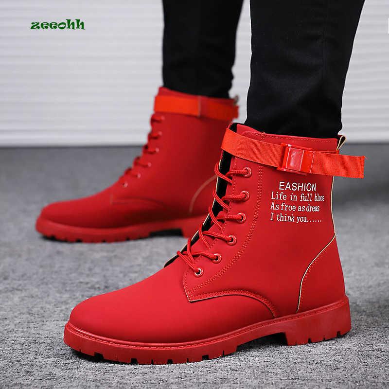 2020 Erkek Kırmızı Motosiklet Botları Erkekler Sonbahar Kış Yüksek Top Ayak Bileği Akın Nubuk Marka Kış Ayakkabı Iş Güvenliği Sürme Batı botas