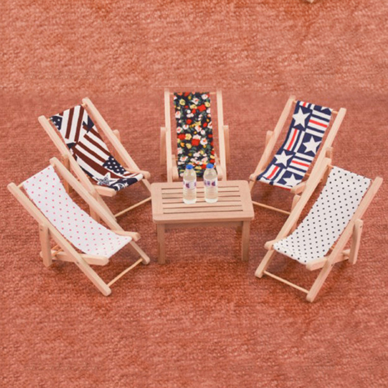 1PC Wooden Lounge Chair Striped For 1/12 Dollhouse Miniature Furniture For Dolls Dollhouse Beach Chair Christmas Gift Kids Toy