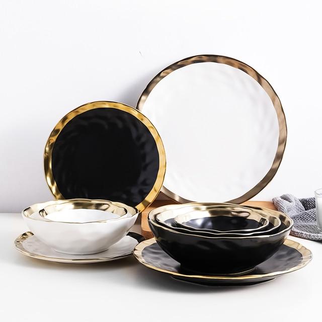 סט 6 צלחות/מרקיות פורצלן שחור/לבן עם מסגרת זהב - דגם ונציה 2