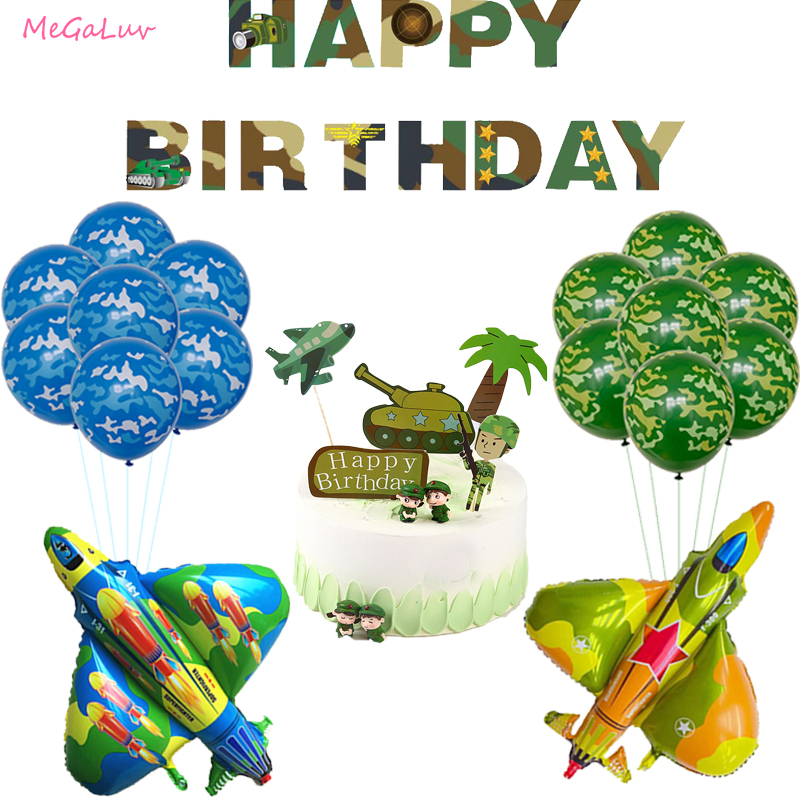 Камуфляж Air Force тематики для армии воздушных шаров из латекса, истребитель воздушный шар из фольги для мальчиков и девочек солдат День рожде...