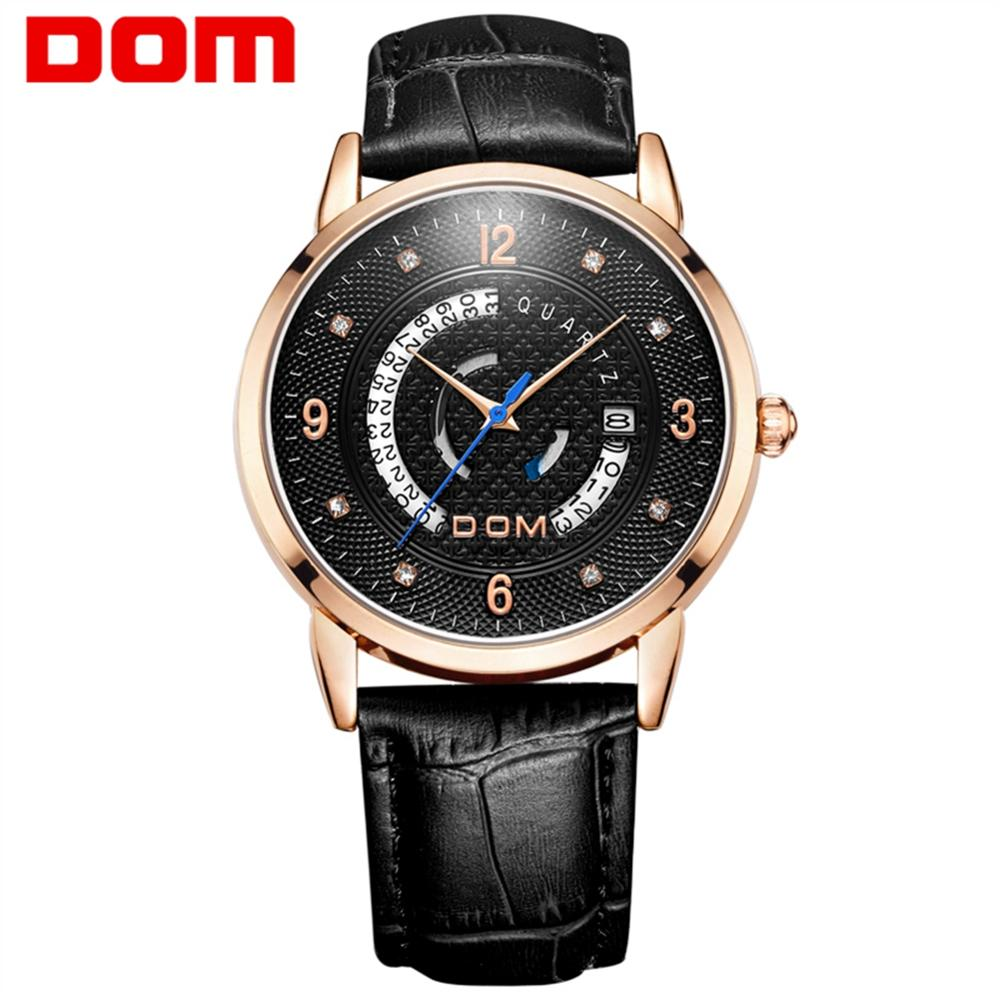 DOM Watch Men Stylish Creative Leather Quartz Watch Waterproof Calendar Sport Men Military Watch Relogio Masculino M-45GL-7M