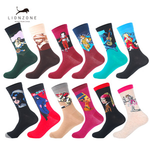 Image 1 - LIONZONE 12Pairs/Lot Men Funny Colorful Combed Cotton Socks Dozen Pack Oil Painting Character Casual Dress Wedding Happy Socks