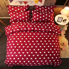 3D Fashion Bedding Sets Girl Adult Teen Linens Red Heart Pattern Fashion Duvet Cover Pillowcase Flat Bed Sheet King Queen Size(China)