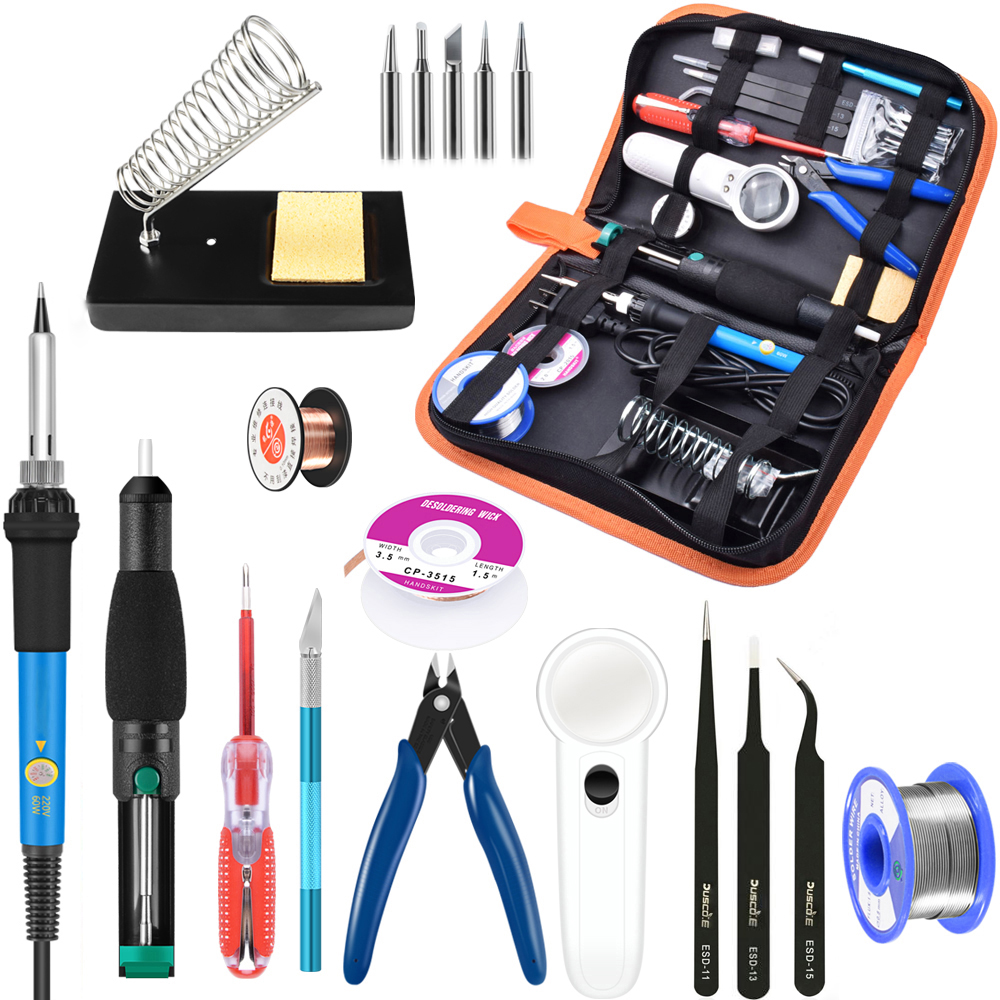 60W Soldering Iron Kit 220V Adjustable Temperature Electric Soldering Iron Set With Desoldering Pump Soldering Tips Welding Tool