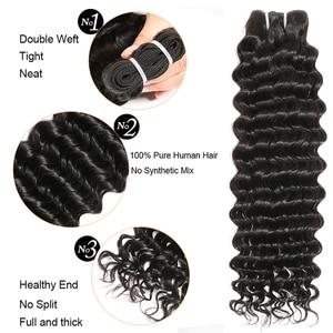Image 2 - Deep Wave Bundles With Closure 3 Bundles Brazilian Hair Weave Bundles With Closure Remy Human Hair Bundles With Closure ALIPOP