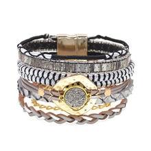 Женские кожаные браслеты в богемном стиле