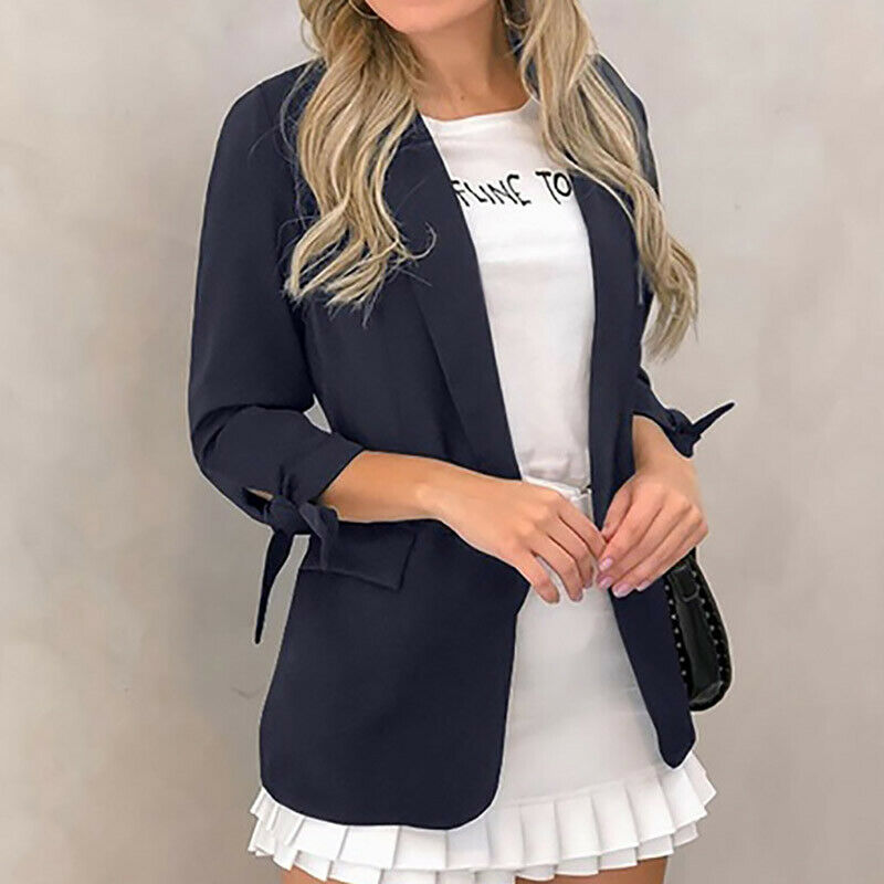 Women Lapel Blazer Cardigan Long Sleeve Jacket Autumn Winter OL Ladies Work Casual Coat Outwear Business Suit Coat