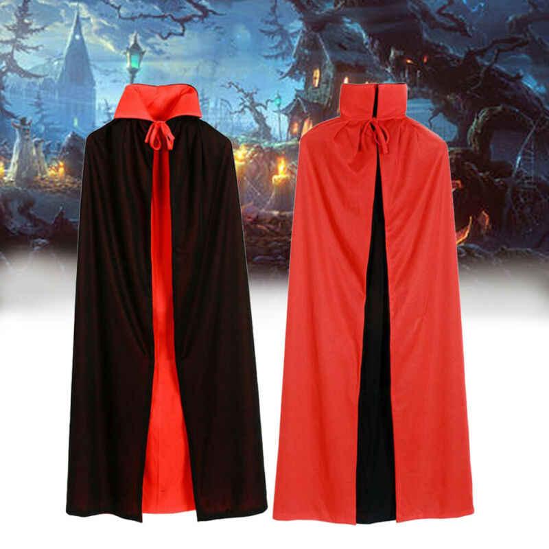 คอสเพลย์ฮาโลวีนแวมไพร์ Reversible เครื่องแต่งกายสำหรับผู้ใหญ่ Dracula Devil Cape Unisex สำหรับบุรุษและสตรีแวมไพร์หมวก Hooded Cloak
