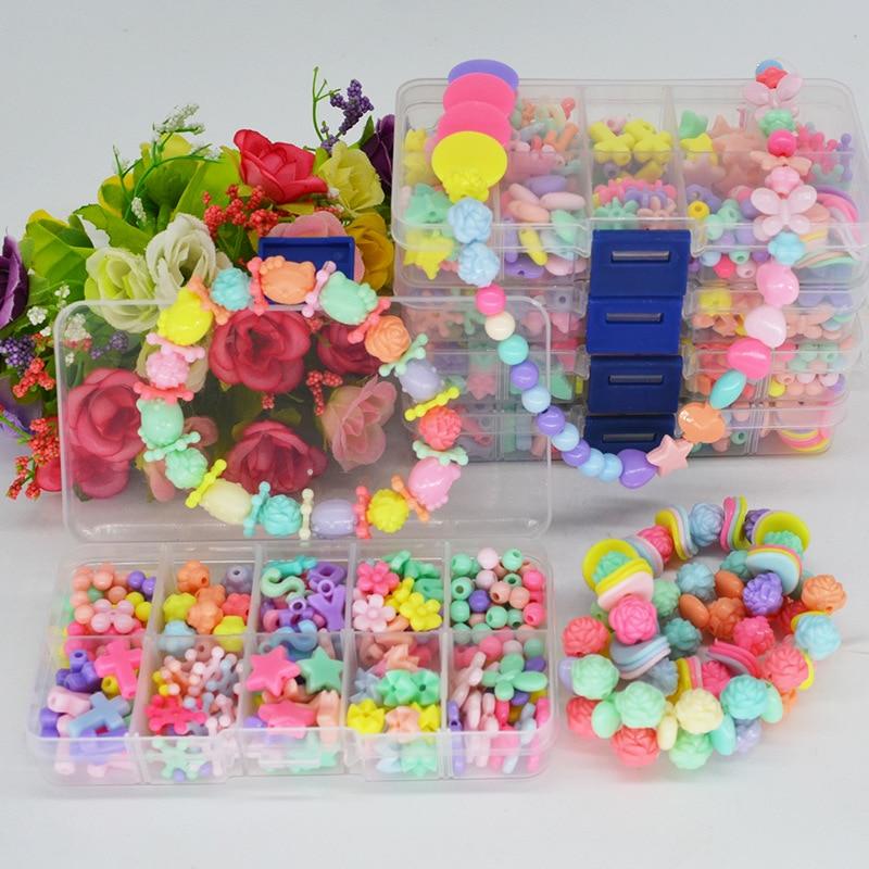 Children Handmade DIY Beaded Bracelet Educational Toy GIRL'S Wear Necklace Bracelets Weak Sight Training Material Box Beads Gift