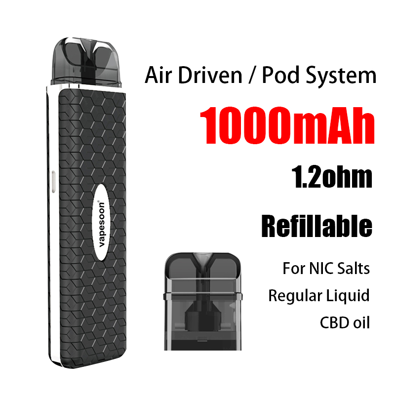 Vapesoon VSA Pod Vape Starter Kit With Cartridge Empty 1000mAh Battery 2ml Pods  System