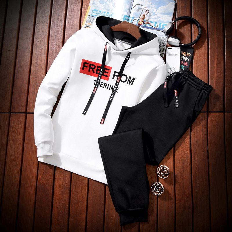 Men Leisure Set Spring And Autumn Hooded Long-sleeved Pullover New Style Students Hoodie Suit Korean-style Sports Two-Piece Set