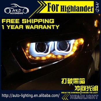 AKD Car Styling Head Lamp for Toyota Highlander LED Headlight 2007-2011 Kluger LED DRL H7 D2H Hid Option Angel Eye Bi Xenon Beam