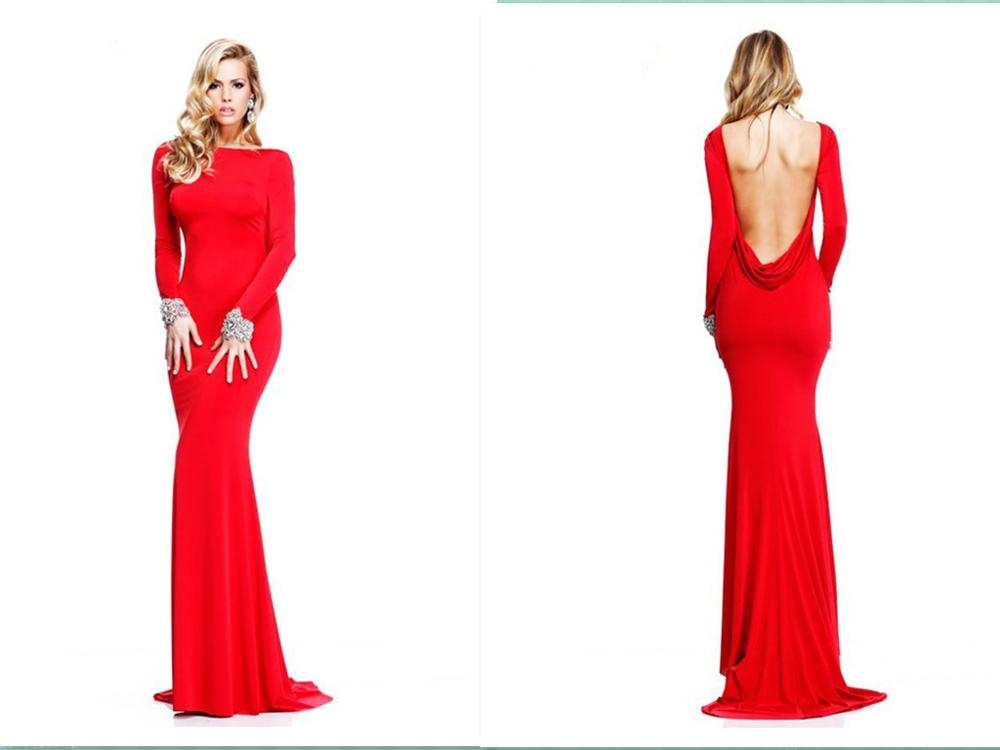 2016 Evening Dresses Red Bateau Long Sleeve Sexy Cowl Backless Sheath Long Sweep Train Beaded Formal Gown Party Dress