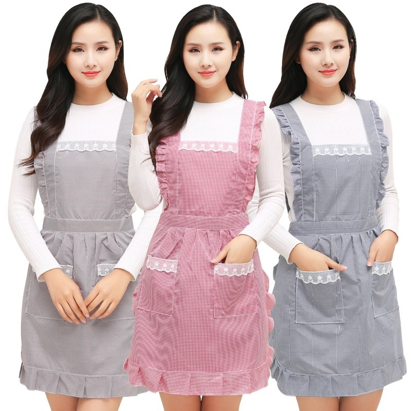 Light Indignation, Korean-style Apron Women's Household Lace Protective Clothing Literature And Art Plaid Apron Nice South Korea