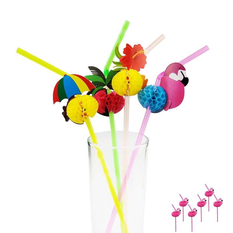 20 шт. одноразовые Фламинго кокосовое дерево пластиковые соломинки Забавные разноцветные Коктейльные питьевые соломинки Летние Гавайские ...