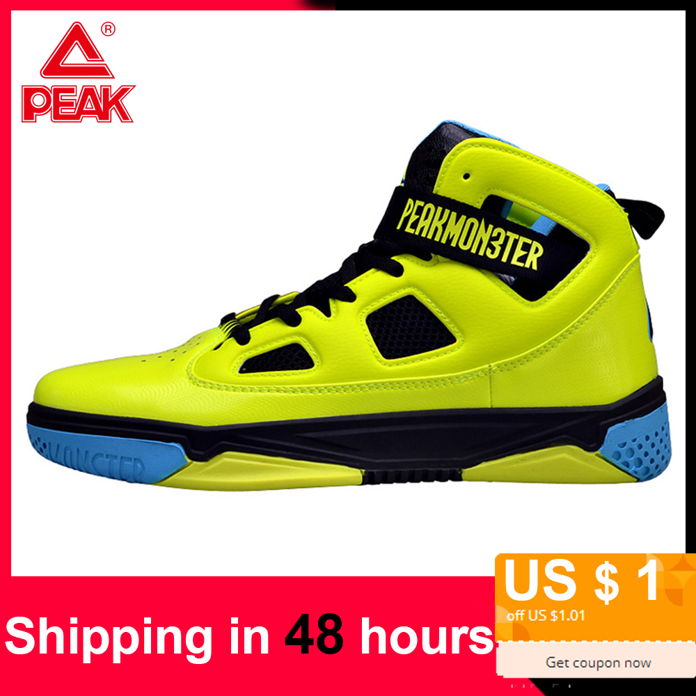 PEAK Sneakers Basketball-Shoes Rebound Ankle-Protect Sport Men's Slow High-Cut Damping title=