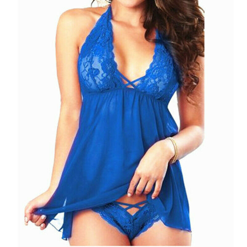 Backless Sexy Lingerie Lace Halter Sexy Underwear S-2XL V-neck Lingerie Sexy Hot Erotic Babydoll Women Plus Size Costumes XXL XL 5
