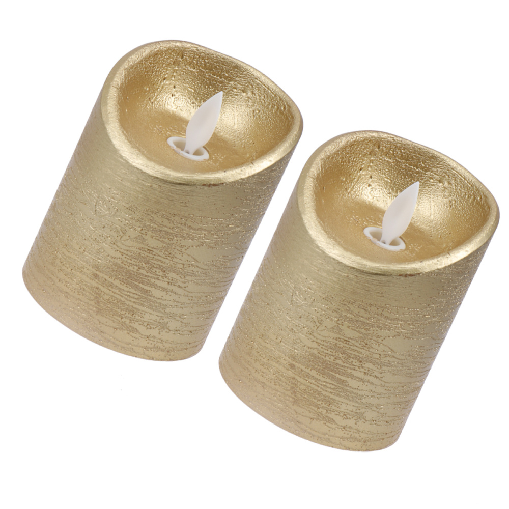 2Pcs 7.5x10cm LED Candle Light Metal Painted Lamp Smokeless Swinging Flame Light Party Supplies for Home Golden
