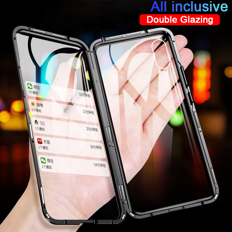 360 Magnetic Metal Phone Case For Iphone 7 8 6 Plus Double Side Glass For Iphone X XR