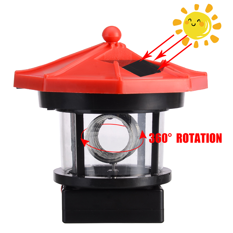 1pcs LED Solar Powered Lighthouse Statue Rotating Garden Yard Decor Outdoor Lighting Solar Lamps