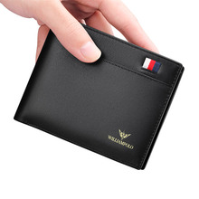 Men's Wallet Genuine Leather  Casual Solid Purse with Driver License  Handmade Minimalist Card Holder