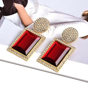 Colorful Crystal Geometric Metal High-Quality Stone Earrings  3