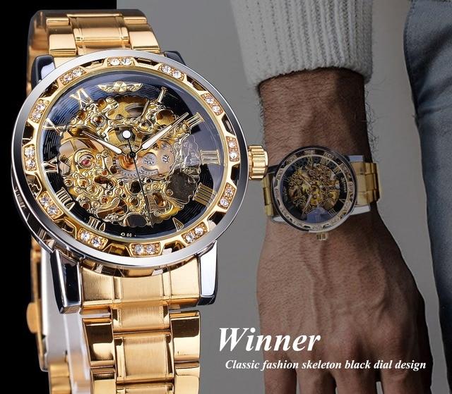 Winner Golden Watches Classic Rhinestone Clock Roman Analog Male Skeleton Clocks Mechanical Stainless Steel Band Luminous Watch 3