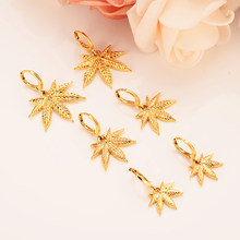 gold color drop earring Africa Women Party Gift Cannabiss Weed Marijuan Leaf charms women girls party Jewelry gift diy charms(China)