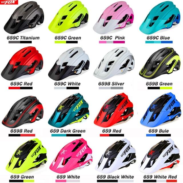 BATFOX Capacete de bicicleta CE MTB, capacetes de ciclismo de montanha e estrada vermelha e com viseira solar unissex ultraleve 6